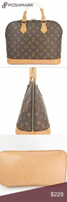 LOUIS VUITTON Alma Monogram Hand Bag Purse VERY GOOD PRE-LOVED LOUIS VUITTON Alma Monogram Hand Bag Purse. 100% AUTHENTIC GUARANTEED!  Name: LOUIS VUITTON Alma Made In: France Code: BA 0965 (France, June 1995) Color: Browns Material: Louis Vuitton Monogram Canvas and Leather Features: Spacious interior. One inside open pocket. Size in inches (approx.): W 11.8 x H 9 x D 6.25 Size in cm (approx.): W 30 x H 23 x D 16 Handle drop in inches: 3 Handle drop in cm: 8 Bags Travel Bags