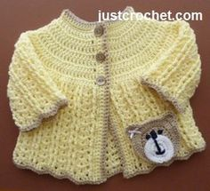 Free baby crochet pattern for pretty coat, http://www.justcrochet.com/shell-coat-usa.html #justcrochet #patternsforcrochet