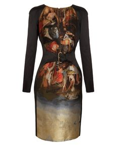 a dress with hieronymus bosch painting by Alexander McQueen