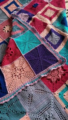 "Made by Gina H - A Blanket - From The Scheepjes CAL 2014 - In Memory of Marinke (Wink) Slump R.I.P. (Crochet Squares / Afghan / Blanket) Pattern is   STILL FREE & AVAILABLE    on her Blog: ""A Creative Being"""