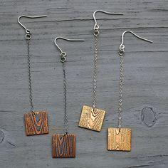 Wood Drop Earrings, Wood Earrings, Wood Pattern Earrings, Faux Bois Earrings, Etched Brass or Etched Tiny Stud Earrings, Wooden Earrings, Wooden Jewelry, Diy Earrings, Metal Jewelry, Fine Jewelry, Diamond Earrings, Flower Earrings, Fashion Earrings