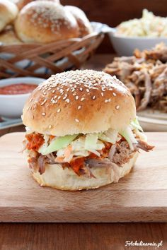 Pulled Pork Sandwich with homemade Hamburger Buns, BBQ Sauce and Coleslaw.