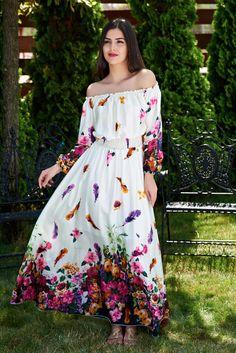Rochie MissQ Honey Girl White. Rochie lunga MissQ, pe umeri, cu imprimeu floral, din material satinat.