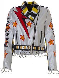 Chaqueta Biker Color Plata T535