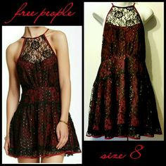 NWOT FP Burgundy & Black Lace Party Dress Lovely, sexy, trendy burdgundy A-line dress with black lace overlay. The back is only lace for a peek-a-boo effect. The dress has sparkly gold polka dots. Free People Dresses
