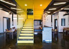 JYA-rchitects clads restaurant facade in rotating green panels