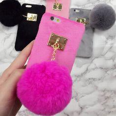 Nueva Caliente de la Felpa Villose Duro Teléfono Contraportada Con Bola de pelo de Conejo de Lujo caso para iphone 7 for iphone 6 6 s 7 plus capa de fundas de nuevo