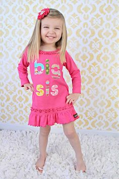Big Sister Dress, Big Sister Tunic, Pink Big Sister Shirt, Ruffle Dress, Birth Announcement, Baby Shower, Photo Shoot New Pregnancy 3 4 5 6 on Etsy, $36.00