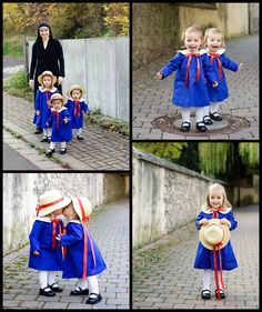 Bookish Halloween costume for children: the boarding school girls from Madeline.