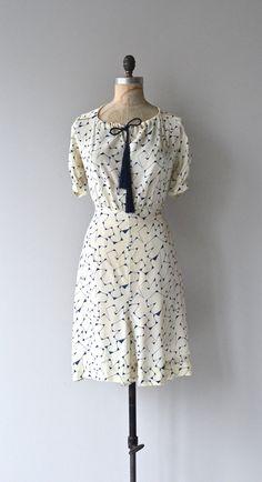 Tesseract silk dress 1930s silk dress vintage 30s by DearGolden