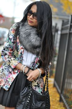floral blazer with leather skirt and fur snood