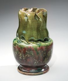 George E. Ohr (Biloxi Art Pottery), Biloxi, Miss. Vase with green and red glazes, 1894–1898