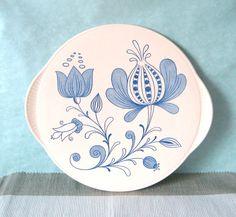 kuchenplatte vintage : Kuchenplatte DOM Keramik blaue Blumen Mid Century von Sweet Virginia ...