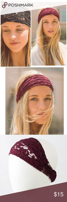 ⚡️SALE⚡️Bohochic Wide Lace Headband Stretchy floral lace design. Elasticized band at the back/ stays in place. Made of soft lace available in black or burgundy Bchic Accessories Hair Accessories