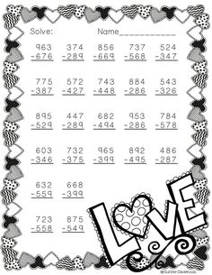 Need extra subtraction practice? This printable focuses on three digit subtraction. Most problems require regrouping. No prep, just print and go. There is an answer key included. Math Subtraction, Addition And Subtraction, Second Grade Math, Fourth Grade, Math Worksheets, Teacher Resources, Elementary Math, Classroom Activities, Teaching Math