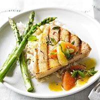 Delicious Grilled Swordfish with Citrus, Saffron, and Mint - Use blood oranges or red grapefruits for a sweet, tangy touch!
