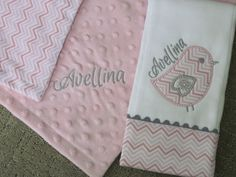 Personalized baby girl Lovey Blanket and by SassyJunebugDesigns, $34.00
