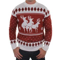 ugly christmas sweater reindeer menage a trois sweater by tipsy elves clothing