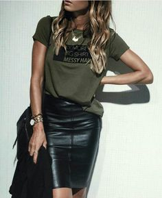 Green t-shirt, black leather pencil skirt