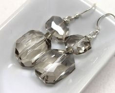Faceted Smoky Gray Quartz and Crystals Earrings