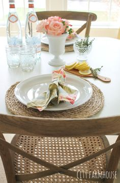 Pottery Barn Inspired Round Jute Placemats U0026 Summer Table {City Farmhouse}