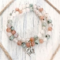 Montana Agate, Kiwi Jasper and Sunstone Healing Crystal Double Wrap Bracelet with Pewter Lotus or Angel Wing Charm handmade by Soul Sisters Designs
