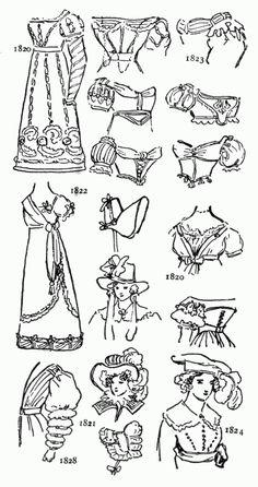 female fashion and accessories worn during regency era of Jane Austen