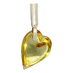 """""""Heart Of My Heart"""" Crystal Filled Amber Necklace"""