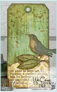 Tammy Tutterow | We Come To Love Art Tag featuring Tim Holtz Layering Stencils, Stamps, and Distress Inks