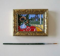 Original acrylic Sunflowers and Eiffel Tower miniture x 3 gold frame, French Country Decor, Paris apartment, gift idea Hydrangea Painting, Canvas Painting Landscape, Acrylic Paintings, Hanging Plates, Handmade Home Decor, Handmade Gifts, Small Art, French Country Decorating, Miniture Things