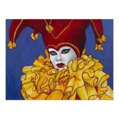 Red and Yellow Carnival Jester Print print