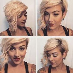 asymmetrical pixie with side swept bangs More