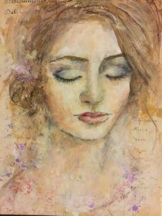 Fluid acrylics, watercolor and ephemera. Fluid Acrylics, Ursula, Portrait Art, Face Art, Art Journals, Journal Ideas, Ephemera, Watercolors, Art Girl