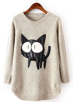 Beige Long Sleeve Contrast PU Leather Cat Pattern Sweater pictures