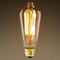 LED Edison Bulb - 5 Watt - 380 Lumens - 40 Watt Equal - Warm Tone - 2400 Kelvin - Amber Tinted - 15,000 Life Hours - Tungsten Filament - Nipple Tip - Dimmable - 120V