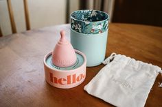 The Hello Cup and all its pretty packaging - Saying no to Tampons and saving muma nature one step at a time Pretty Packaging, Packaging Design, Period Kit, Menstrual Cup, First Step, Things To Come, Branding, Zero Waste, Creative