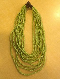 Beautiful green beaded necklace with wooden clasp by OakyandAmmy, $16.00