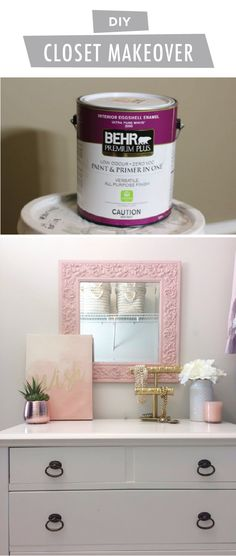 Calling all fashionistas! This DIY master closet makeover from Brooke, of Brooklyn Berry Designs, is the perfect way to show off your trendy style. Brooke started with Soft Focus and Positively Pink, from the 2018 BEHR Colour Trends Palette. A framed mirror, organized shelving systems, bright white furniture, and gold accent colors come together to create a space that's glamorous and chic.