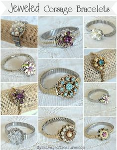 Jeweled Corsage Bracelets made with stretch wrist watch bands and vintage clip-on earrings. From MySalvagedTreasures.com