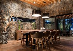 I really like the use of stonework inside of the home,,,,,