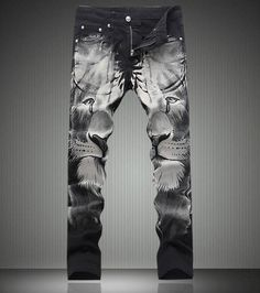 50.00$  Watch now - http://alim0x.shopchina.info/go.php?t=32772277750 -   Fashion New  Vintage Lion Print Tousers New Slim Denim Jeans 50.00$ #aliexpressideas