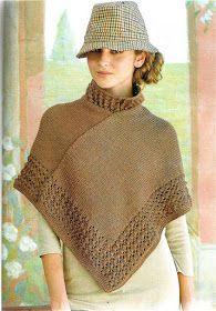 Poncho Mundolana: tips Poncho Outfit, Poncho Shawl, Knitted Poncho, Poncho Knitting Patterns, Crochet Patterns, Knit Crochet, Crochet Hats, Mantel, Clothes