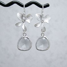 Smoke Grey Glass Drop and Orchid Earrings Sterling by RoseAndRaven, $27.00