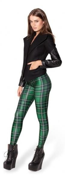 Black Milk Leggings Tartan Green