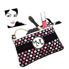 Personalized Makeup Bag Monogram Cosmetic by SEWsationalStitches