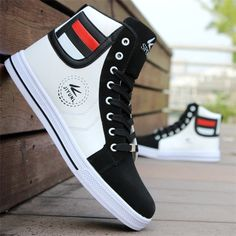 Mens Round Toe High Top Sneakers Casual Lace Up Skateboard Shoes Newest Style 4 Colors