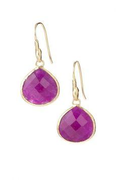 Style with 12k Gold platted drop earrings in Aqua stone or Lapis stone  from Stella & Dot. Find fashion earrings, chandelier earrings, hoops, drops & more.