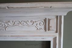 Create a Mantel from a Mirror Frame - Scavenger Chic Faux Mantle, Faux Fireplace Mantels, Diy Mantel, Fireplaces, Fireplace Molding, Wood Fireplace Surrounds, Mantel Headboard, Headboard Ideas, Headboards