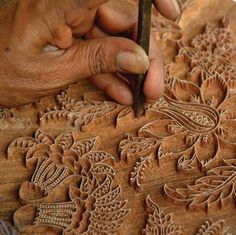 Block printing, Rajasthan, India - Each pattern starts with hand carving one to thirty print blocks out of teak - depending on the number of colors and patterns used for printing a fabric.