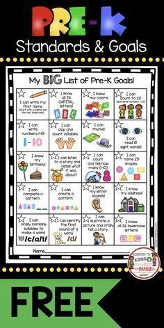 Pre-K Goals Chart - FREEBIE — Keeping My Kiddo Busy My kindergarten incentive kit has been such a hit, I went ahead and created one for my Pre-K friends. We all know as teachers that the standards drive our instruction, but getting our students exci… Preschool Assessment, Kindergarten Readiness, Preschool At Home, Preschool Kindergarten, Kindergarten Checklist, Kindergarten Portfolio, Preschool Learning Activities, Preschool Lessons, Pre K Activities
